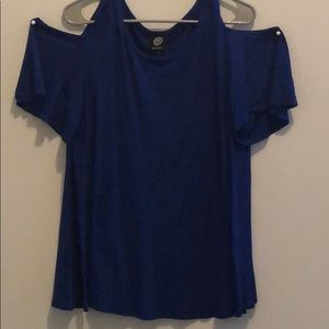 Royal Blue Bobeau cold shoulder top